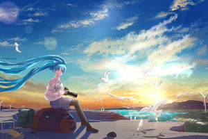Hatsune Miku Vocaloid Long Hairs Taking Nature Pics 4k Wallpaper