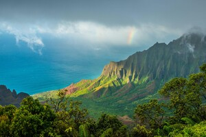 Hawaii Kauai Pacific Ocean Clouds Mountains 4k