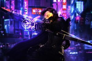 Hawkeye In Cyberpunk 2077 Wallpaper