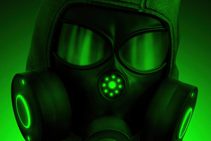 Hazardous Mask Green 5k Wallpaper