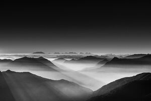 Haze Mountain Landscape Monochrome 5k Wallpaper