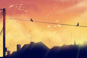 Hazy Spring Birds 4k Wallpaper