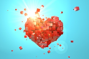 Heart Explosion Love Red Abstract Valentine Day Wallpaper
