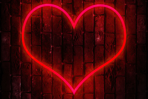 Heart On Tile Wall Hd Wallpaper