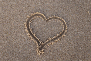 Heart Sand Beach Wallpaper