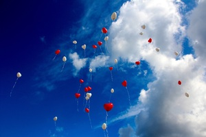 Heart Shape Balloons In Sky