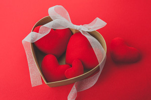 Heart shaped Red Ribbon Valentines Day