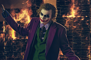 Heath Ledger Joker Cosplay Burning Buildings 4k Wallpaper