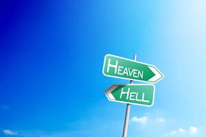 Heaven Or Hell Sign Board Wallpaper