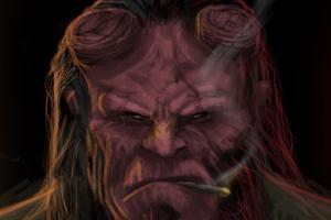 Hellboy Smoking Cigarette