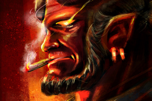 Hellboy Smoking Wallpaper