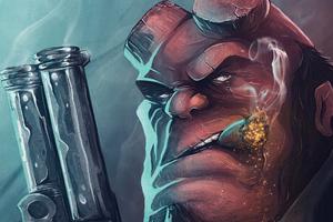 Hellboy With Gun 4k