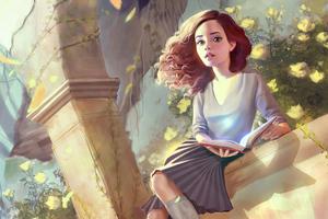 Hermione Sitting Fanart 4k Wallpaper