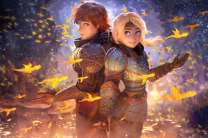 Hiccup And Astrid 5k Wallpaper