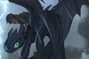 Hiccup And Toothless Digital Art
