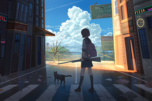 High School Anime Girl With Gun 5k Wallpaper
