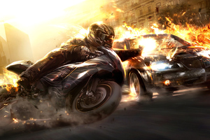 High Speed Motorbike Cop Car Chase Wallpaper