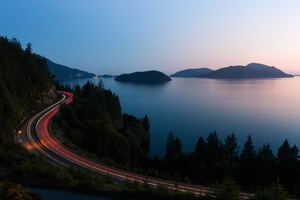 Highway Golden Hour Long Exposure 5k Wallpaper
