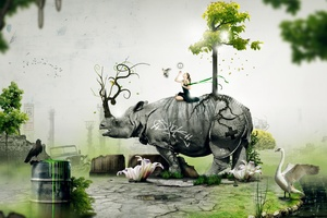 Hippopotamus Digital Art Wallpaper