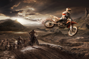 HONDA CRF 450R Riders Jumping From The Sand Mud Wallpaper