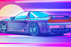Honda Nsx Retrowave Art 4k Wallpaper