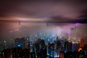 Hong Kong Buildings Night Lights Mist