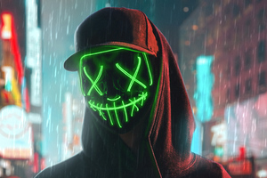 Hoodie Boy Green Glowing Mask 4k Wallpaper