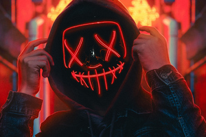Hoodie Guy Red Neon Light 4k Wallpaper
