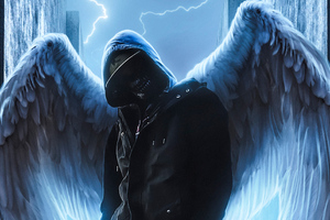 Hoodie Guy With Wings Wallpaper