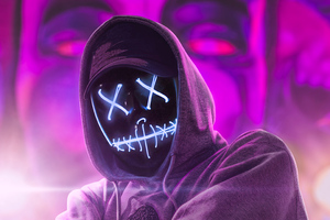 Hoodie Neon Guy Abstract 4k Wallpaper