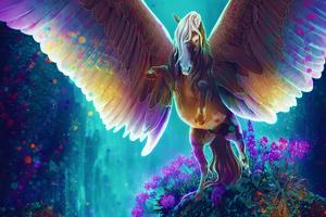 Horse Fantasy Colorful Wings Open 4k Wallpaper