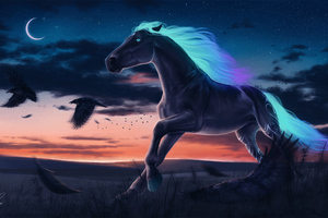Horse Magic Moon Digital Art Wallpaper