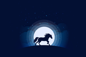 Horse Silhouette Digital Art Wallpaper