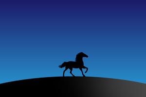 Horse Silhouette Minimal 4k