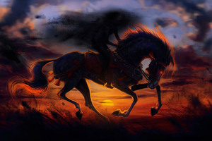 Horse Sunset Painting Artwork