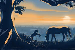 Horses Dawn Minimal 4k Wallpaper
