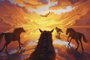 Horses Running Towards Light 4k