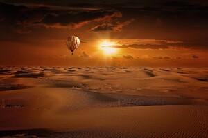 Hot Air Balloon Desert Wallpaper