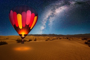 Hot Air Balloon On Desert Night