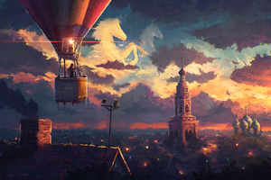 Hot Air Balloon Ride Artwork 4k Wallpaper