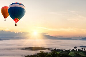 Hot Air Balloons Mountains Landscape