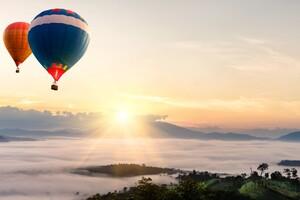 Hot Air Balloons Mountains Landscape Wallpaper