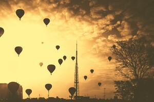 Hot Air Balloons Tower Orange Contrast Clouds 5k Wallpaper