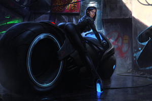 Hot Girl On Tron Bike Artwork Wallpaper