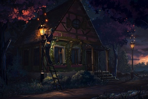 House Fairy Tale Art Light Night
