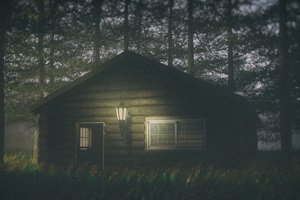 House In Forest Darkness 4k Wallpaper