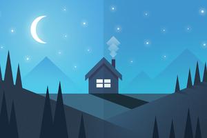 House Mountain Trees Moon Illustration Wallpaper