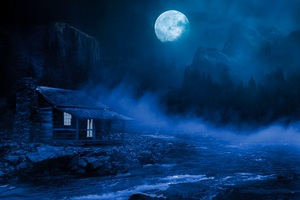 House Night Full Moon Fantasy Lake Flowing On Side 5k Wallpaper
