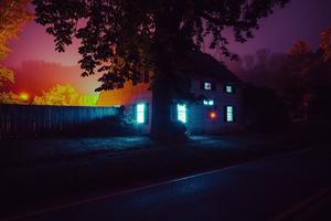 House Night Lights 4k Wallpaper