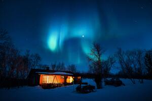 House Under Aurora Northern Lights